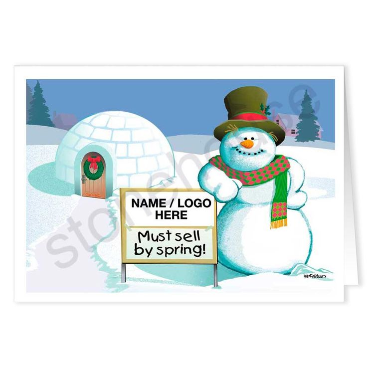 Funny Snowman Custom Realty Holiday Card.  Realtors can customize the sign with their own company name and logo.  A great way to reach out to clients and let them know you appreciate their business.  Holiday real estate greeting cards.