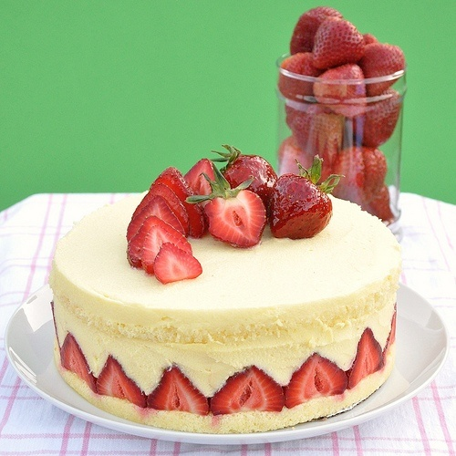 White chocolate strawberry mousse cake. Where's my fork ...