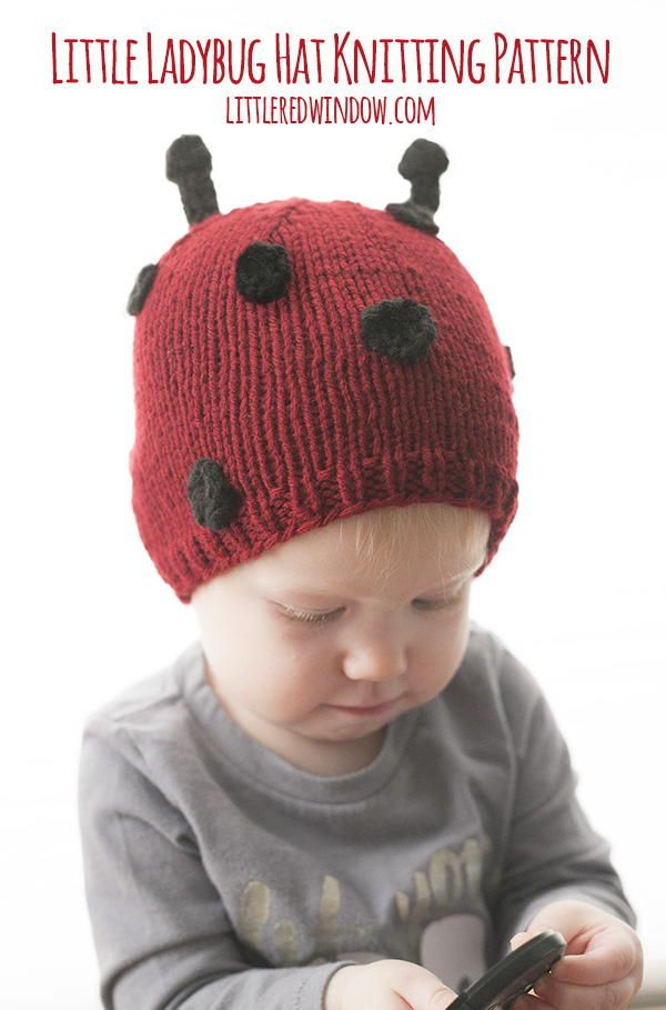 The little ladybug hat knitting pattern makes an adorable red hat with cute polka dots and little antennae on top!