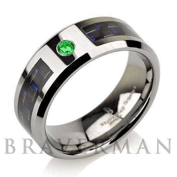Green Emerald Men Tungsten Wedding Band,Man Tungsten Wedding Ring,May Birthstone,Engagement Ring,Comfort Fit,Green Emerald Band
