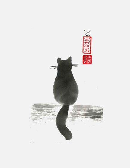 """Original sumi-e """"Sitting Cat"""" by Irina Te.- japanese art - black and white."""