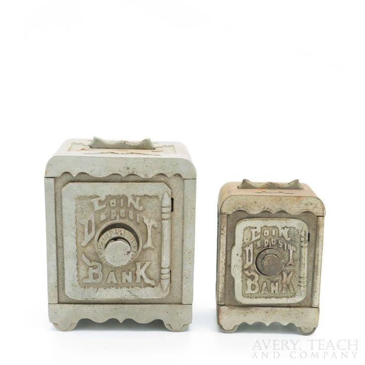 A Pair of Cast Iron Antique Combination Safe