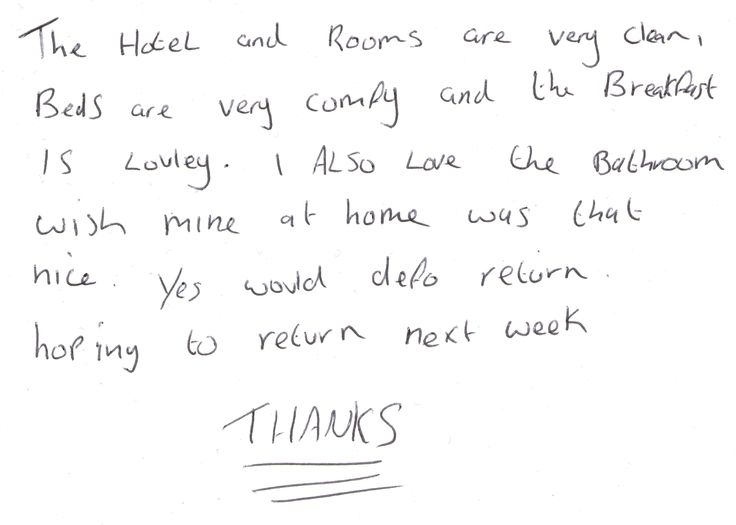 Guest feedback this morning after a two night stay in our standard twin bedroom whilst working at the Barbour Factory Shop, Bede Trading Estate, Jarrow about five minutes drive from us.