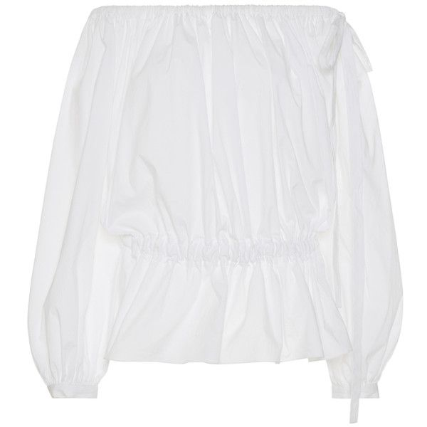 Rochas Off The Shoulder Peplum Top (15.610 RUB) via Polyvore featuring tops, white, off shoulder tops, draped tops, off the shoulder peplum top, drapey tops и white off the shoulder top