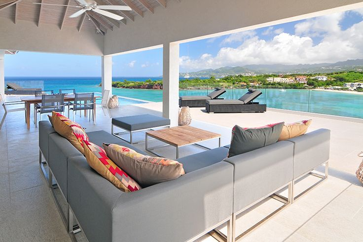 Grenada Villas for rent and sale. Outdoor Living features comfortable outdoor living space and a great Caribbean Sea view.