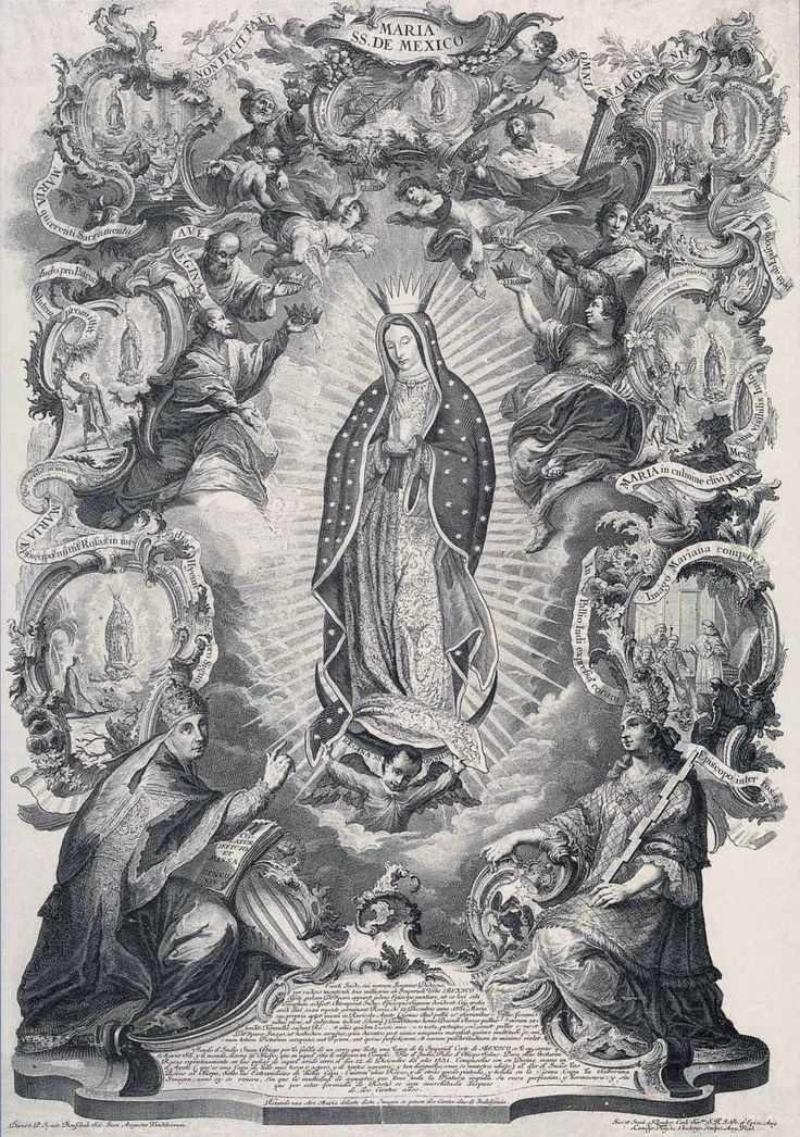 Joseph Sebastian Klauber & Johann Baptist Klauber - Allegory of the Protection of the Virgen de Guadalupe over New Spain (c. 1754).    The Klauber family established a Catholic art publishing company in the Bavarian city of Augsburg in 1737. They were very active in producing religious prints of the saints, scenes from the Bible and pilgrimage sites.The Klaubers conducted their work with the highest standards and eye for detail.