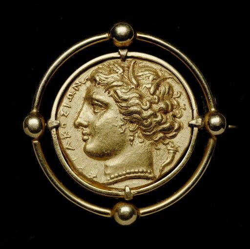 Gold drachm of Syracuse, with head of Persephone, struck under Hiketas (obverse). Greek. Hellenistic Period, 287 - 278 B.C. | Museum of Fine Arts, Boston