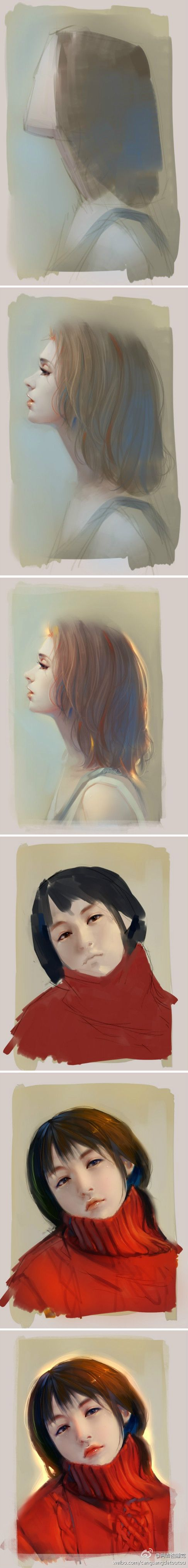Two tutorials of how to draw female's face