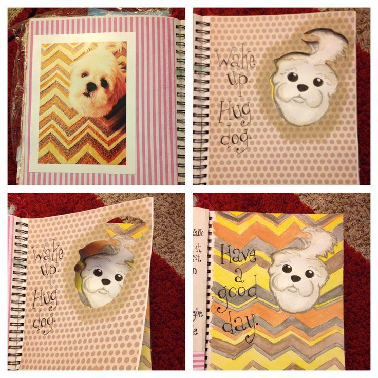 Art journaling my sweet Artful Dodger dog! -Lissa