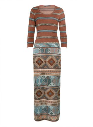 Intricately patterned stripes marry Anatolian kilim geometrics on our head-turning jacquard knit dress. Gorgeous in sun-mellowed shades of terra cotta and aqua pima, the simple silhouette is long and elegant, with a scoop neck, ¾-sleeves and subtle A-line hem.