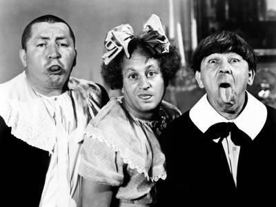All the World's a Stooge, Curly Howard, Larry Fine, Moe Howard, 1941 Photo at Art.com
