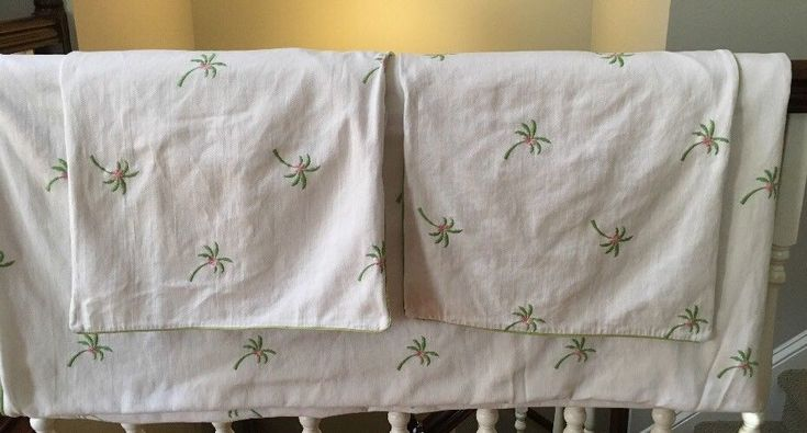 Lilly Pulitzer Full/Queen Duvet 2 Shams White Palm Trees Green Trim #LillyPulitzer