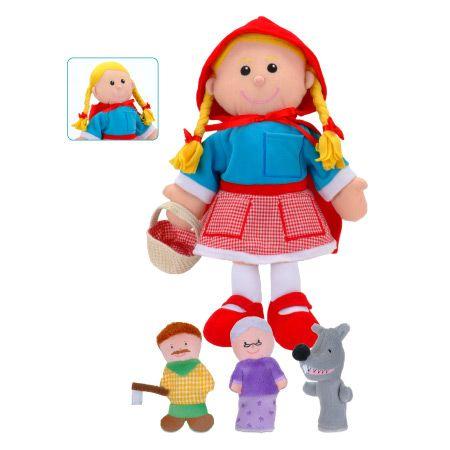 """Σετ γαντόκουκλες """"Η Κοκκινοσκουφίτσα """"  Διαστάσεις: 28 x 32 εκ. ( 4 κομμάτια) Από 3 έως 9 ετών. http://www.toy-box.gr/paixnidia/koukles/gantokoukles/results,1-90"""