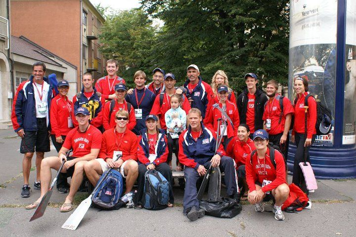 Dragon Boat USA waiting for the bus to arrive on the streets of Hungary. Races are about to begin!