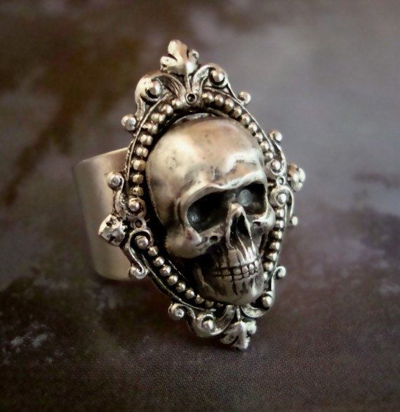 Skull Ring, Human, Gothic, Metal Bonded NOT Glued, QUALITY RING, Sterling Silver Plate, Comfortable Ring Band. ParadiseFindings $34.00