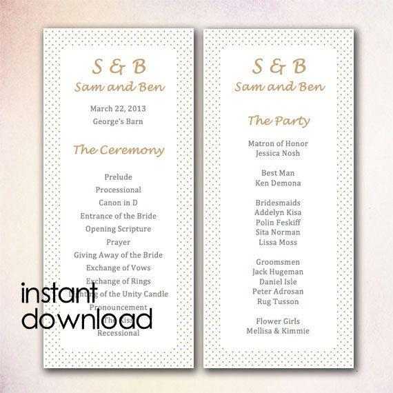 20 best DIY Wedding Program Templates - Instant Download images on - program templates word
