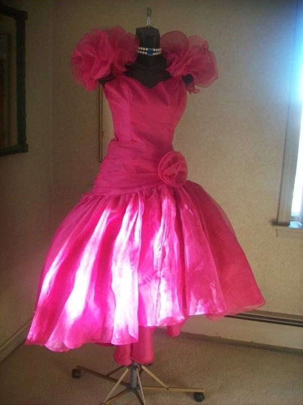 68ba5d7b505 Details about Vintage 80s Party Prom Pink Shiny Satin Glam Extreme ...