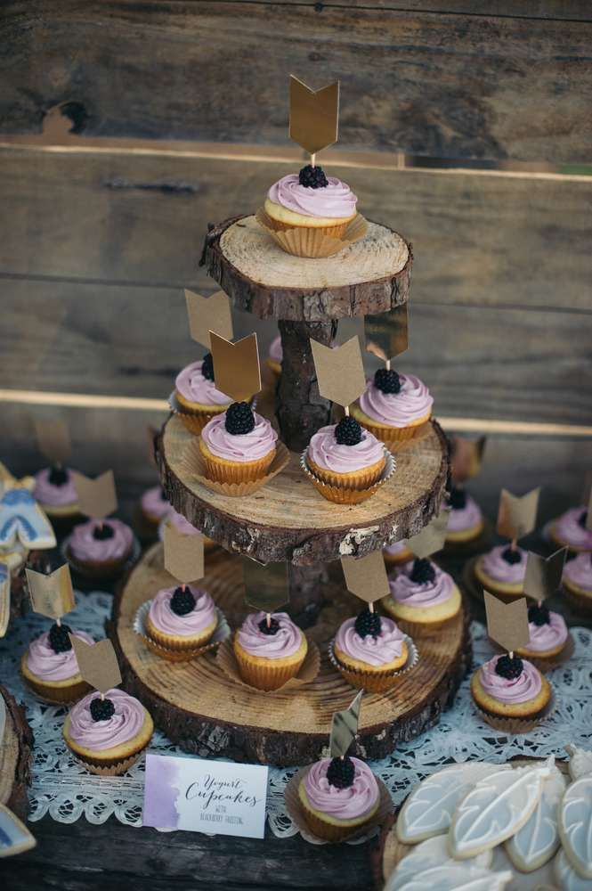 Berry cupcakes at a tribal birthday party!  See more party planning ideas at CatchMyParty.com!