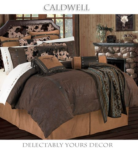 Delectably Yours Decor Caldwell Western Comforter Bed Set & Accessories - Rich Tooled Faux Leather Comforter with Faux Suede Accents by HiEnd Accents #DelectablyYours Southwestern Western Bed and Bath Decor