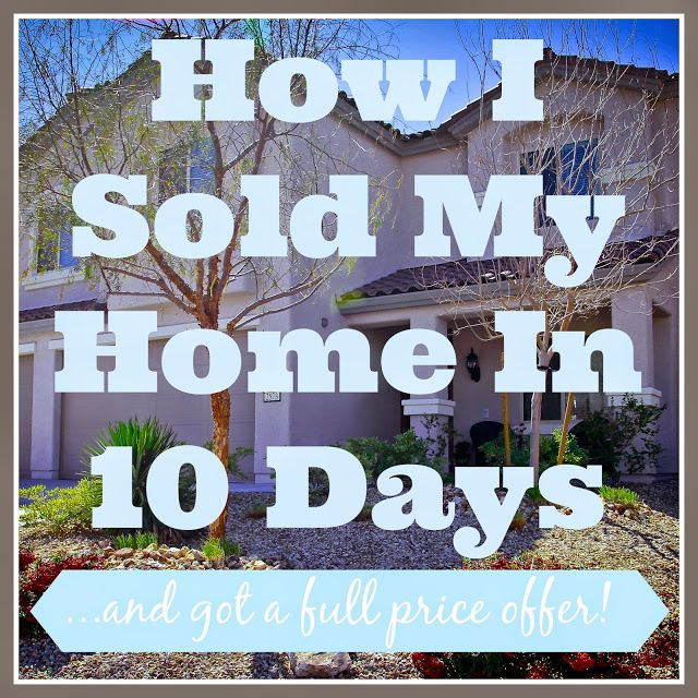 This blogger offers awesome tips and tricks for how to get your home sold fast! She even got a full price offer. I'm definitely going to try tip number 5!
