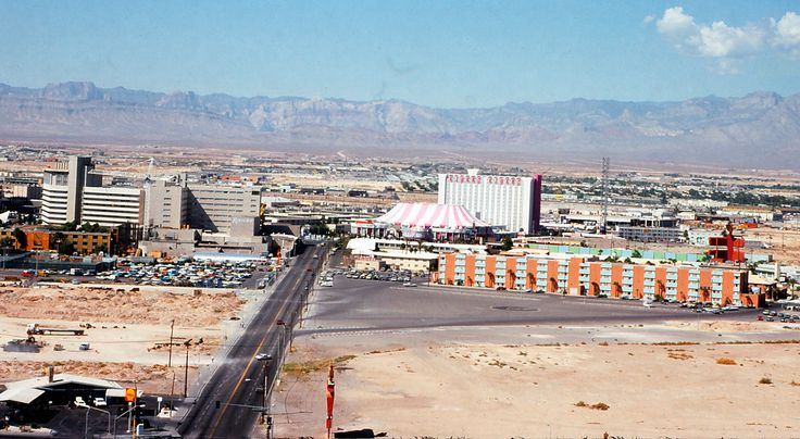 View from Las Vegas Hilton, Las Vegas, 1974. Looking west down Riviera Blvd. The rear of Riviera is on the left, with a crane which could be the construction of their Monte Carlo tower which opened in...