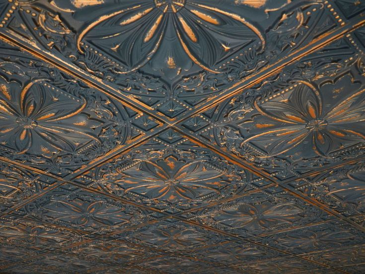 Faux tin ceiling tile TD10 Graphite Gold - a need for the kitchen.