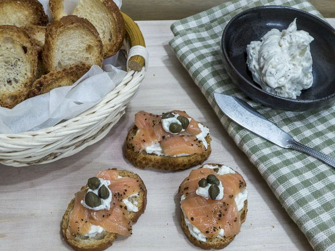 Smoked Salmon with Dill Cream Cheese on Lightly Toasted Baguette
