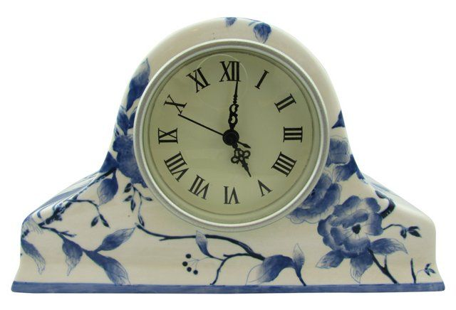 "Vintage Blue and white porcelain mantel clock, keeps accurate time. Marked: Oriental Accent A26 | 10""w x 3.5""d x 6""h 