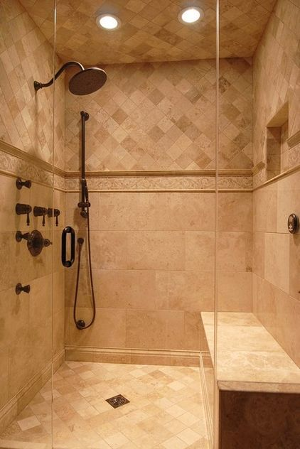 Shower Tile Idea in an ivory would be nice