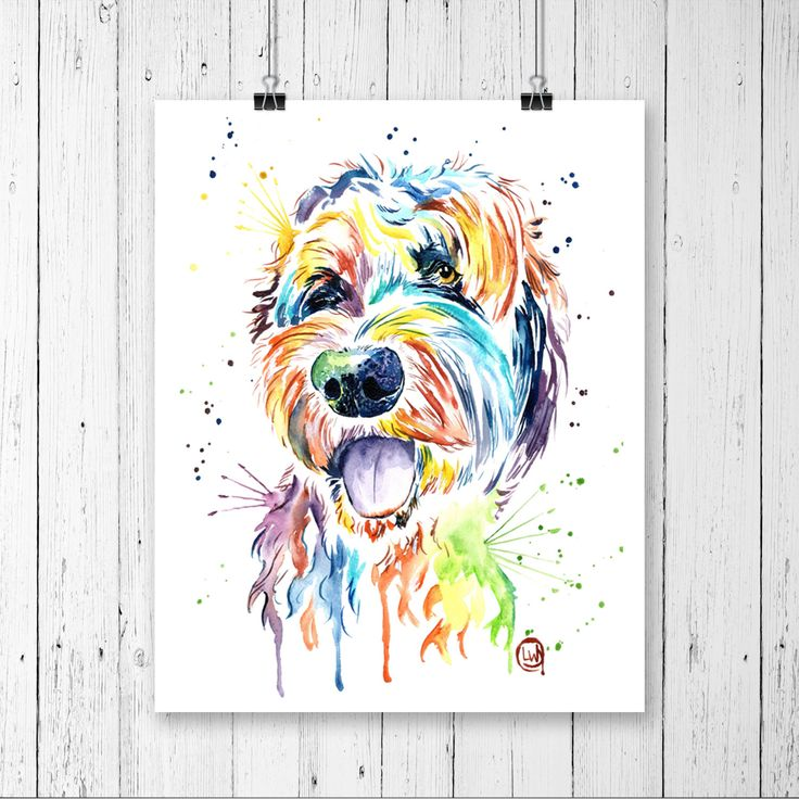 GOLDENDOODLE PRINT, Goldendoodle art, Dog art, Dog theme, Pet Portrait, Pet Art, Doodle Art, Goldendoodle Watercolour, Watercolor, Pet Print by LisaWhitehouseArt on Etsy https://www.etsy.com/listing/470325615/goldendoodle-print-goldendoodle-art-dog