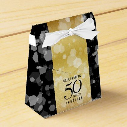 Elegant Striped 50th Golden Wedding Anniversary Favor Box - elegant wedding gifts diy accessories ideas