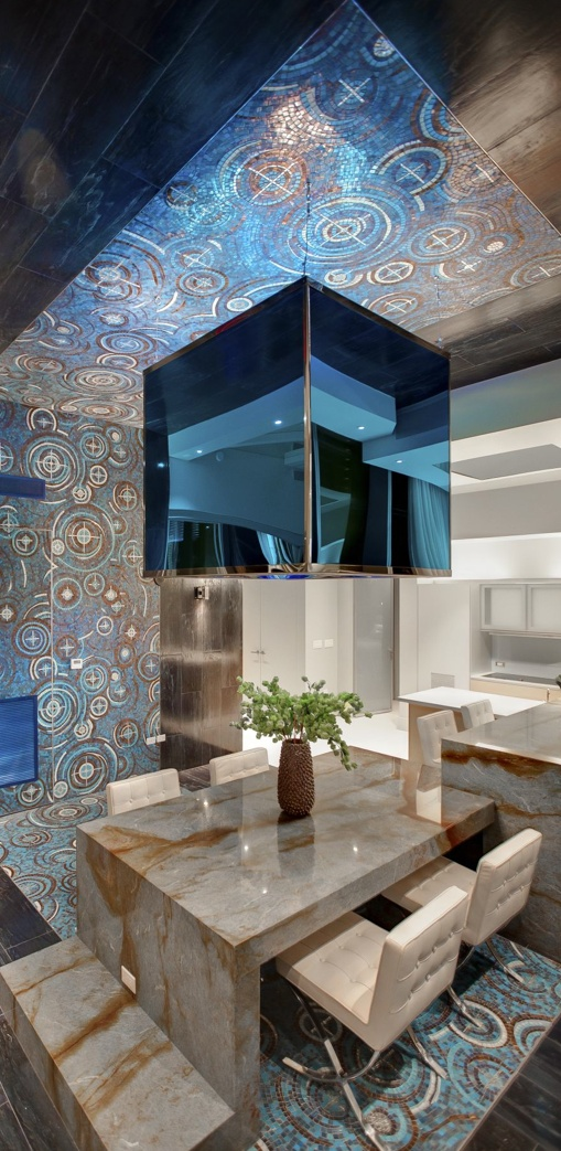 City Center Penthouse Extravagant Interior Design By Mark Tracy: Las Vegas  Penthouse Photo Primary Dining Area Blue Louise Granite Table