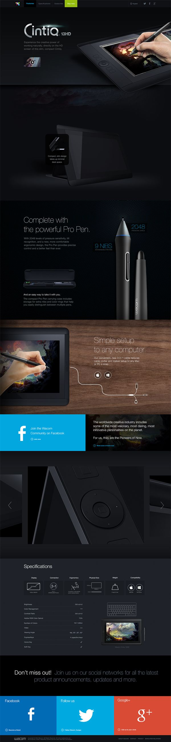Cintiq13HD Campaign Page by Tobias van Schneider, via Behance