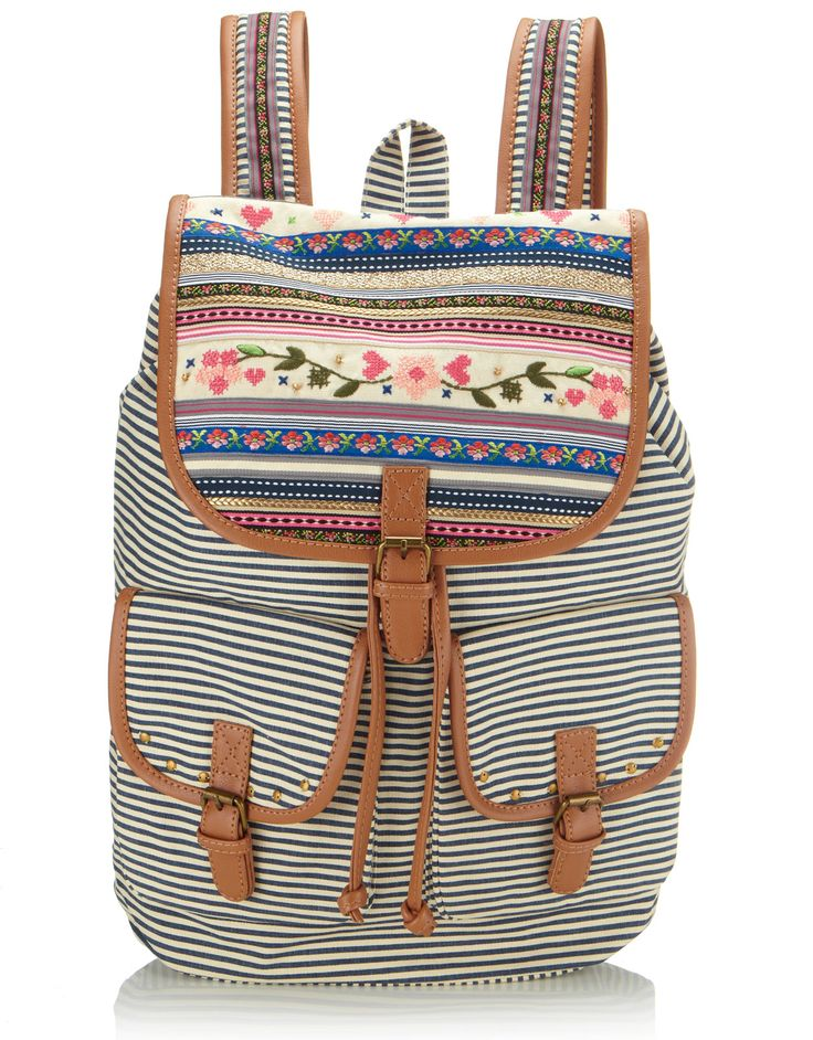 04972ca596a3 Accessorize Women Casual Tan PU Sling Bag. Nora Argentine Leather Backpack  Purse. Cross Stitch Love Stripy Rucksack Multi