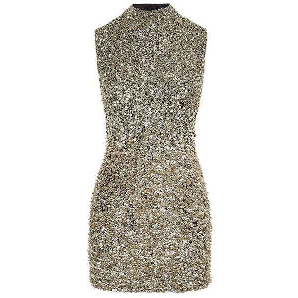 Harrods of London High Neck Embellished Dress ($1,000) ❤ liked on Polyvore featuring dresses, sequin dress, shift dress, gold cocktail dress, brown cocktail dress and gold sequin dress
