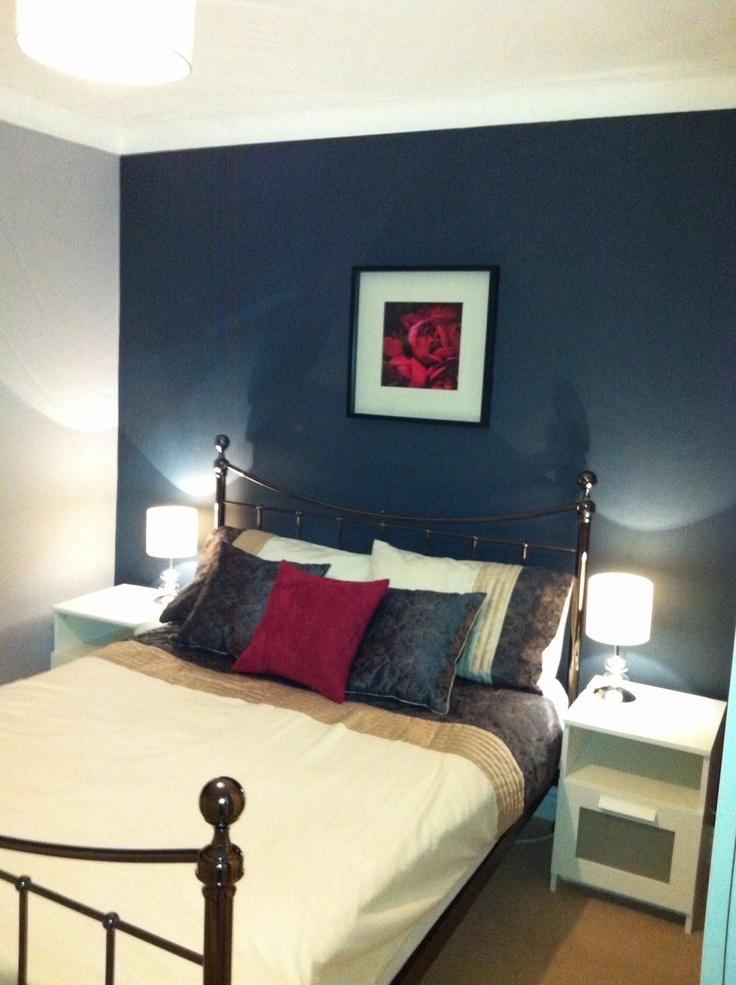 Grey, raspberry, navy bedroom | Bedroom inspirations ...