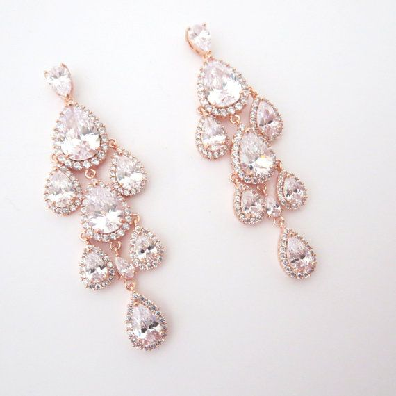 These gorgeous waterfall teardrop crystal chandelier earrings are simply stunning. Created with luxury Rose Gold plated cubic zirconia components