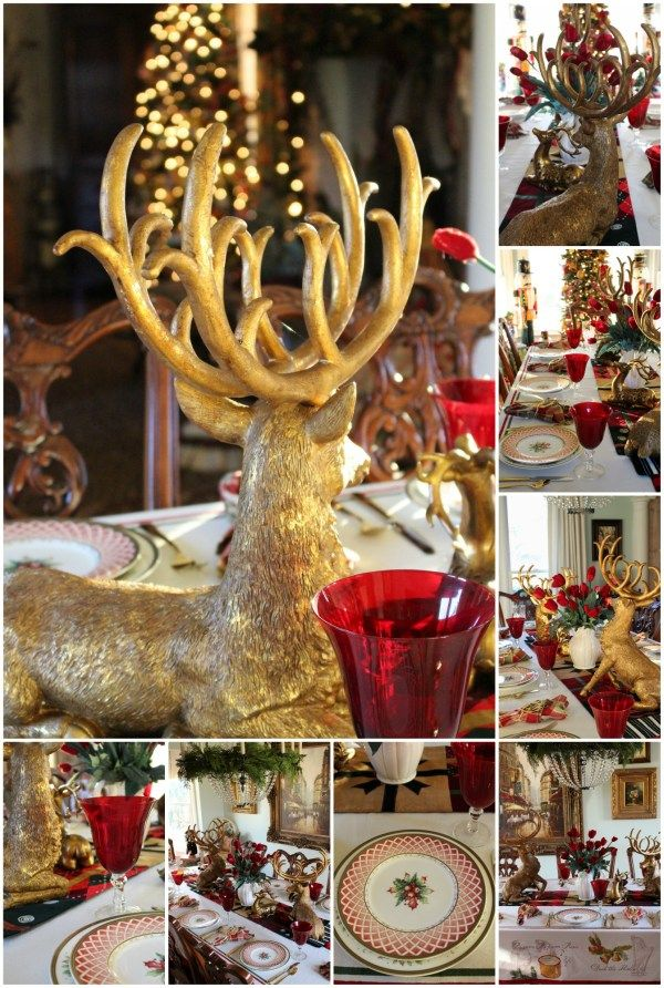 Tablescape Tuesday Golden Reindeer Christmas Tablescapes Tablescapes Christmas Table Settings
