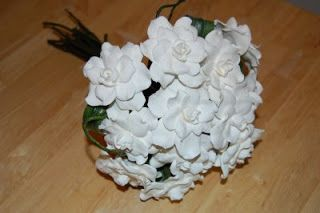 More pictures on the gardenias wedding bouquet | Handmade Flowers