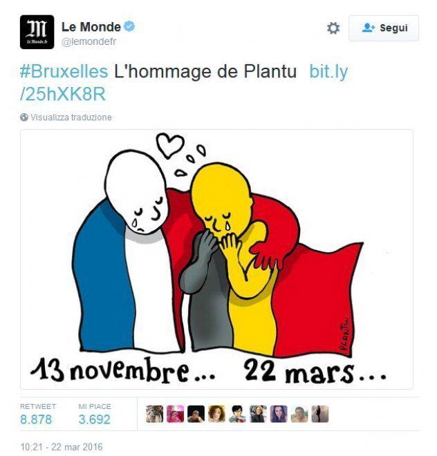 La bandiera francese abbraccia e consola quella belga in questa immagine realizzata dal vignettista Plantu per rendere omaggio alle vittime degli
