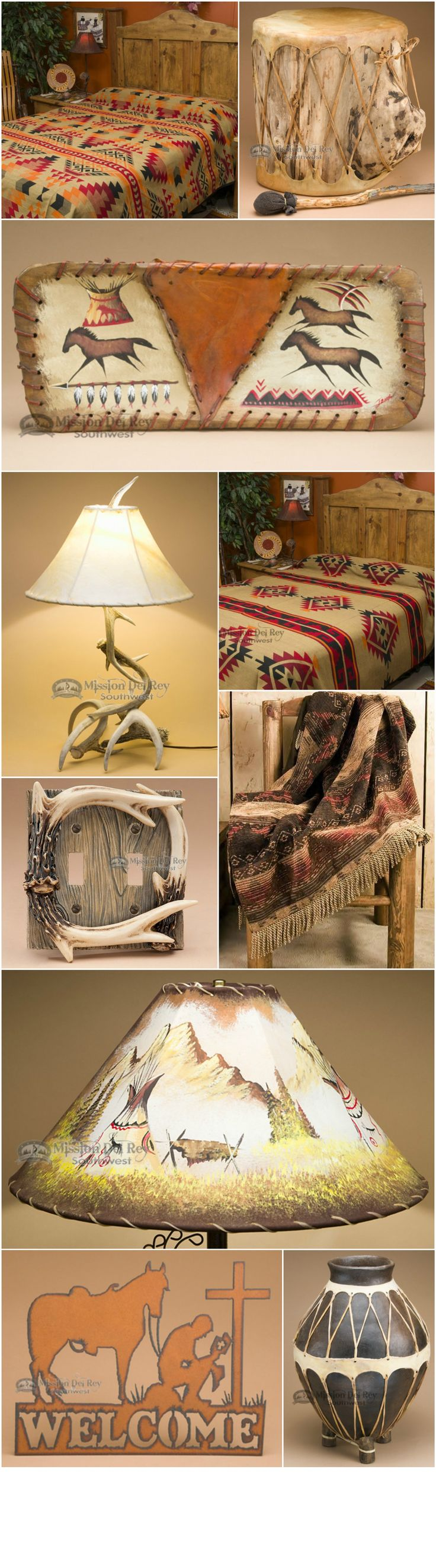 Find fantastic rustic, western and southwest decor for decorating your rustic style home. Choose from popular western bedding, southwestern lamps, leather lamp shades, Native American handcrafts and more. Visit us at http://www.missiondelrey.com/