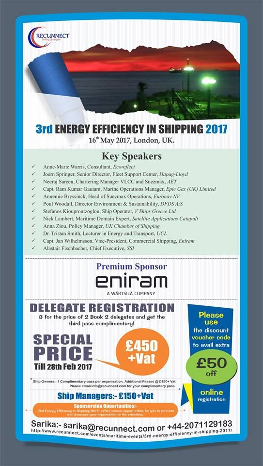 """Last chance """"Special Price"""" expires today for RecunnectLtd's 3rd Energy Efficiency in Shipping 2017"""" @ 16th May 2017 in #HolidayInn - #Kensington, #London, #UK.   Book Now £450+VAT (3 for the price of 2 - Book 2 delegates and get the third pass complementary) Book at http://www.recunnect.com/events/maritime-events/3rd-energy-efficiency-in-shipping-2017now to save £50 with voucher code SAR001"""