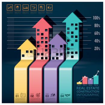 real estate: Real Estate And Construction Infographic With Building Arrows Diagram Design Template Illustration