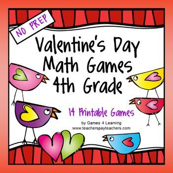Valentine's Day Math Games Fourth Grade by Games 4 Learning  The kids will LOVE math with these fun and engaging Valentine's Day math games.