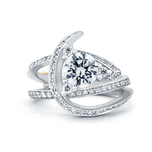 """""""Luxury"""" futuristic diamond engagement ring with pave diamond band, available by special order at Greenwich Jewelers"""