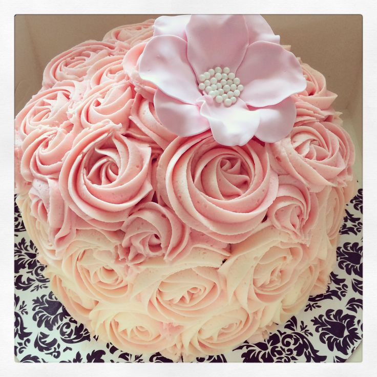 Soft pinks rose cake from Delish Cakes & Cupcakes. Triple layer chocolate cake! Www.delishcakes.co.nz