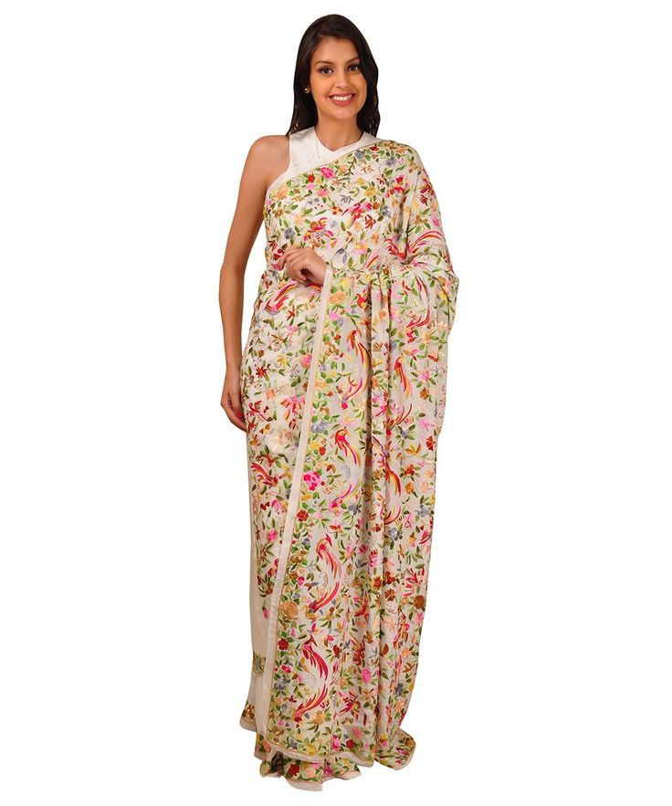 Masterpiece Parsi Gara Hand Embroidered Pure Crepe Saree