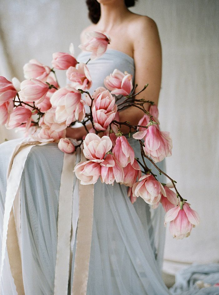 Soft Pink Spring Wedding Inspiration #flowers #magnolia
