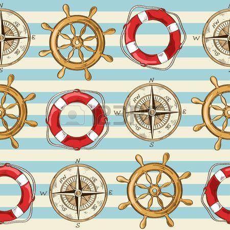 Náutico padrão sem emenda listrado de roda, bússola e Lifebuoy photo