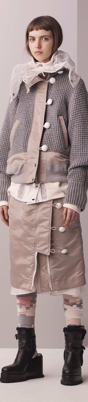 Sacai Pre F-17: knitted bomber jacket, big collar blouse, skirt.